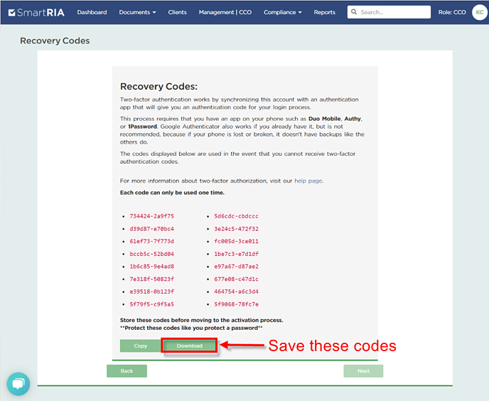 2FactorAuth Save Recovery Codes